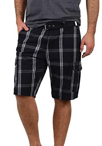 Blend Hans Herren Cargo Shorts Bermuda Kurze Hose Mit Gürtel Aus 100% Baumwolle Regular Fit, Größe:M, Farbe:Black (70155)