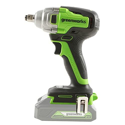 Greenworks Tools Llave de impacto inalámbrica de batería (Li-Ion 24V 400 Nm torsión 2800 vueltas/min 1/2 pulgada de llave...