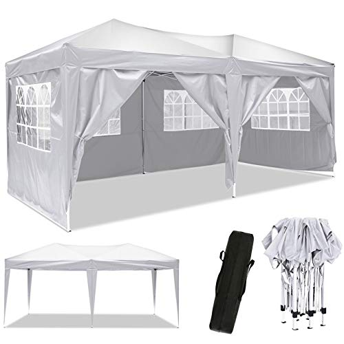 Eloklem 3x3m/ 3x6m Waterproof Garden Gazebo Marquee Awning Tent Event Shelter with Side Panels & Carry Bag for Outdoor Wedding Party (300 x 600 x 330 cm, Snowy White)