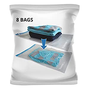 8 Travel Space Saver Bags. Pack of 8 Bags with Sizes Medium to Large. Roll-up Compression Storage (No Vacuum Needed) and Packing Organizers for Travel and Home Storage