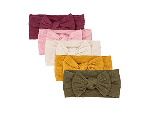 Parker Baby Girl Headbands - 5 Pack of Cable Knit Nylon Bows for Girls -Matilda Set