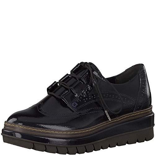 Tamaris Mujer Zapatos con Cordones, señora Calzado de Negocios, Zapatos Bajos,Cordone,clásicos,Elegantes,Navy Patent,36 EU / 3.5 UK