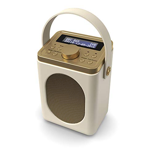 Majority Little Shelford DAB/DAB+ Digital- und UKW-Radio, tragbar, drahtlos, Bluetooth, mit Stereo-Sound, Dual-Wecker/Lederoptik/Netzbetrieben (Creme)