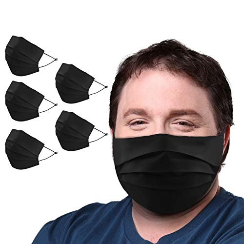 BLU HORN Face Mask XL(X-Large) Size, Reversible, Nose Wire, Pocket for Filter, Adjustable Loops, Ideal for People with Beard(Black 5Pack)