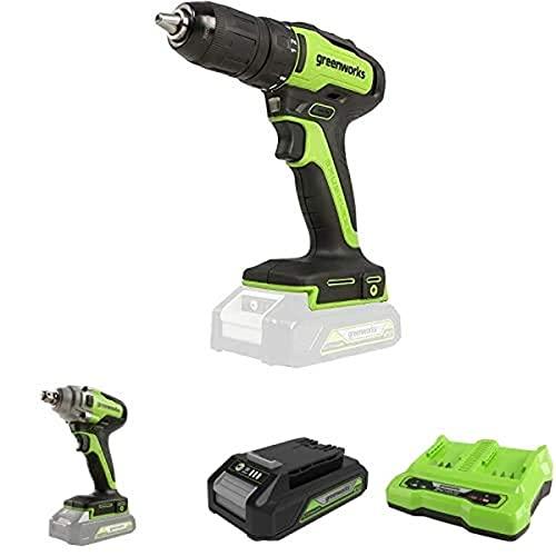 Greenworks Tools GD24DD35 Akku- & Bohrschrauber, 24 V+ Akku-Schlagschrauber +Akku G24B2 2.Generation +Doppelsteckplatz-Akku-Universalladegerät G24X2C