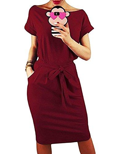 Yieune Sommerkleid Damen Lose Abendkleid Einfarbig Knie Lang Kleider Elegant Strandkleid Minikleid (Weinrot M)