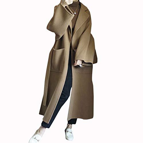 GL SUIT 100% der Frauen Wolle Trenchcoat Klassische fallendem Revers Herbst-Winter-Leicht Warm Lace-Up Placket Langer Wollmantel Cardigan Jacken Outwear mit Gürtel,Camel,L
