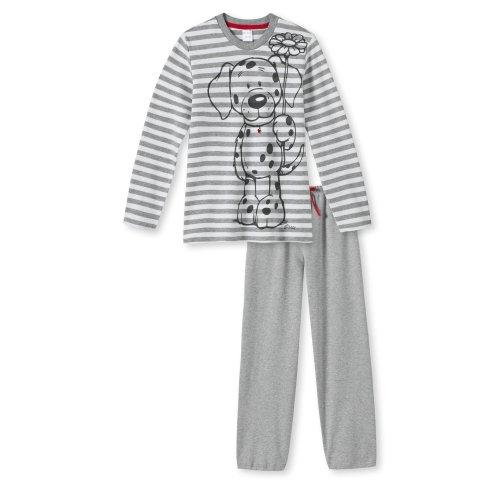 SCHIESSER, Mädchen Schlafanzug, Pyjama, NICI Cats & Dogs, grau mel., 139815, Größe:128