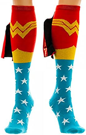 79b8a1030e8b6 DC Comics Wonder Woman Knee High Shiny Caped Socks