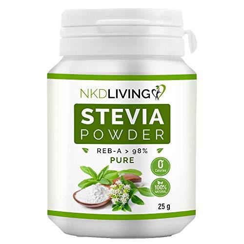 Polvere di Stevia pura al 100% NKD Living, Reb-A 98% (25g)