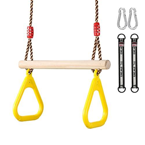 Etercycle Multifunktions Kinderholz Trapeze Schaukel zum Aufhängen belastbar bis 120KG mit Kinder Kunststoff Turnringe