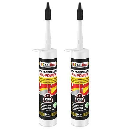 Isolbau Montagekleber FIX-POWER Baukleber Sockelleistenkleber Seistenkleber Kartusche Kraftkleber für saugende Materialien, Kleber für innen & außen, 2 x 480g weiß qualität 200kg / 10cm