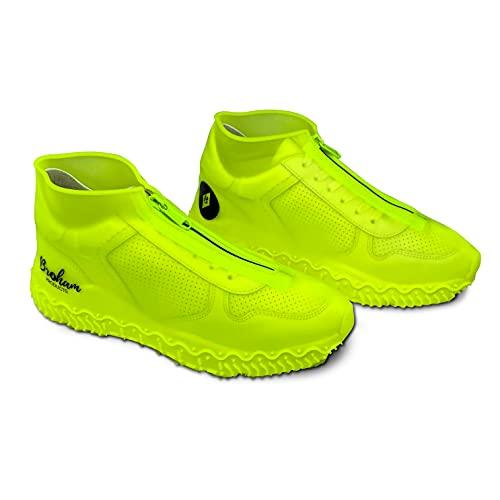 Broham Regenschutz Schuhe - wasserdichte Überschuhe, Silikon Überschuhe für Damen & Herren - Schuhüberzieher wasserdicht, Regenschutz Fahrrad (Neon-Gelb) (L (Weiß-Transparent))