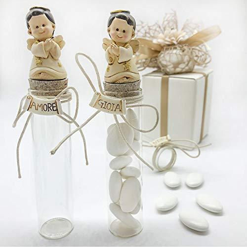Ingrosso e Risparmio 6 tubos de ensayo para peladillas de cristal con angelio, lazo y texto variado de alegría y amor, confites bautizos y comuniones (sin caja).