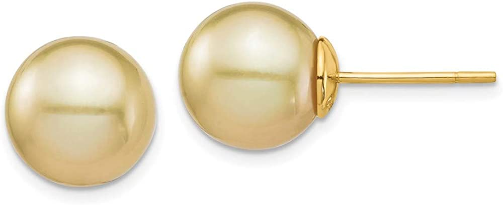 14K 10-11mm Golden Round Saltwater Cultured South Sea Pearl Post Earrings style XF743E