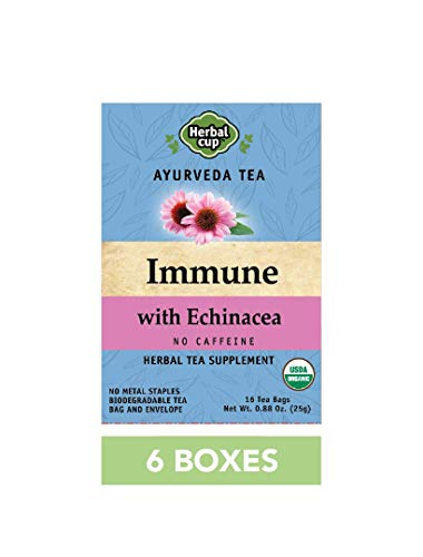 HERBAL CUP IMMUNE WITH ECHINACEA TEA - 6 Pack, 96 Tea Bags Total ORGANIC