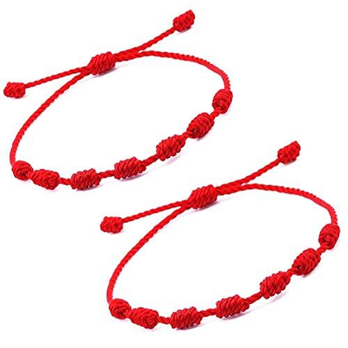 crazy bean Nueva Cordón 7 Nudos de Hilo Rojo Trenzada Hecha a Mano para Protección el Mal de Ojo Unisex Ajustable Pareja Pulsera de la Suerte Pulseras Budistas Tibetanas