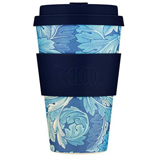 Ecoffee Tasse + William Morris Acanthus mit tiefblauem Silikon, ca. 400 ml, wiederverwendbar und umweltfreundlich, zum Mitnehmen