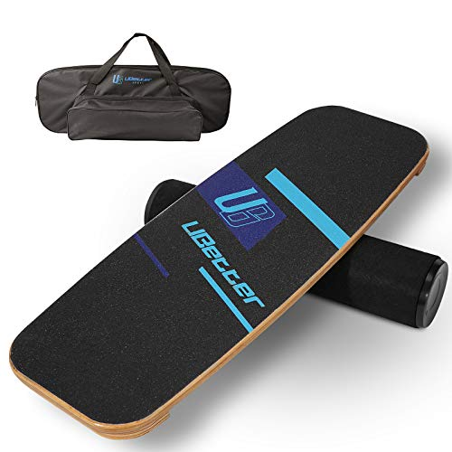 UBetter Balance Board Trainer with Free Bag, Wooden Wobble Balance Board Roller for Hockey Training,Core Improvement,Surfing,Skiing,Snowboarding,Skateboarding