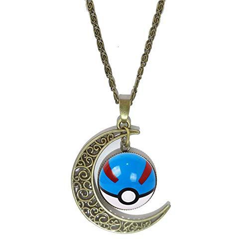 Bosi General Merchandise Pokemon, Collar de Piedras Preciosas del Tiempo, Colgante de Media Luna de Bronce, Regalos creativos, coleccionables