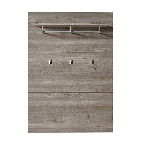 ROCKY Garderobenleiste in Silber-Eiche Optik - Moderne Hutablage & zuverlässige Wandhaken für Jacken & Taschen - 90 x 128 x 28 cm (B/H/T)
