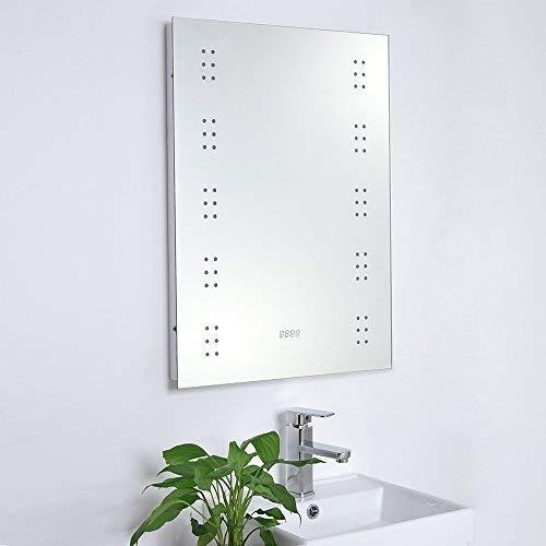 MGEU LED verlichte badkamerspiegel demister shaver tandenborstel bewegingssensor klok muur hoek gemonteerd
