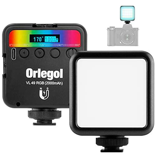 Orlegol LED Videoleuchte, LED Videolicht RGB mit Eingebautem Akku, Mini Dimmbare LED Video Licht Flächenlicht 2500K-9000K, Kamera Licht Dauerlicht, Tragbar LED Fotolicht für DSLR Camcorder Smartphone