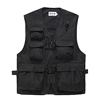 Unisex Mesh Breathable Fishing Vest Multi-pockets Photography Travel Hunting Waistcoat Jacket for Adults and Youth  Black TAG XXXL- fit 171-189lb