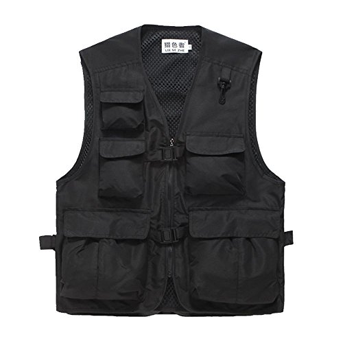 Unisex Mesh Breathable Fishing Vest, Multi-pockets Photography Travel Hunting Waistcoat Jacket for Adults and Youth (Black, TAG XL- fit 138-155lb)