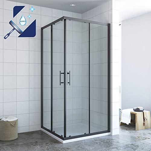 AQUABATOS® 90x90 x 195 cm Duschkabine Eckeinstieg Schiebetür Duschabtrennung Duschwand Glas Duschtür schwarzer Rahmen 6 mm ESG Sicherheitsglas mit Nano Beschichtung, ohne Duschtasse