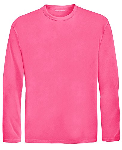 DRI-Equip Youth Long Sleeve Moisture Wicking Athletic Shirts,M-NeonPink