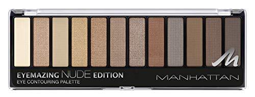 Manhattan Eyemazing Eye Contouring Palette – 12 Lidschatten Farben in einer Palette, von Beige bis Braun in Glitzer und Matt – Farbe 001 Nude Edition – 1 x 14,16g
