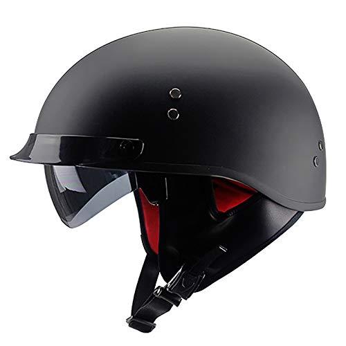 Casco de Moto,Half-Helmet Personality Casco de Motocicleta Abierto Retro para Adultos,ECE Homologado,para Mujer y Hombre Cruiser Chopper Moped Scooter Moto Jet Cascos F,L=59~60cm