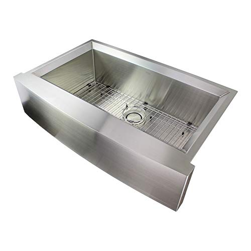 UKN 36-in 14 Gauge Undermount Single Bowl Farmhouse Kitchen Sink with Sinkpocket 22' X 35.5' 11' Grey Rectangle Stainless Steel Finish Sound Dampening