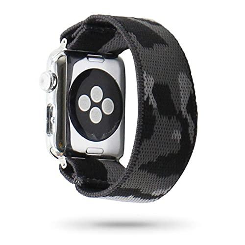 Correa de reloj de manzana de nailon de camuflaje, correa de reloj elástica de punto, 38/40 mm 42/44 mm, pulsera de reloj de moda para hombres / mujeres