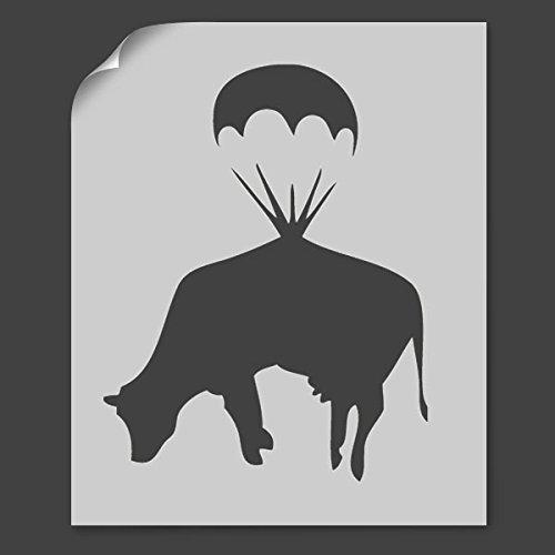 Banksy Fallschirm Kuh Schablone Verschiedene Größen Farbe Wände, Stoff & Möbel - 37x48cm