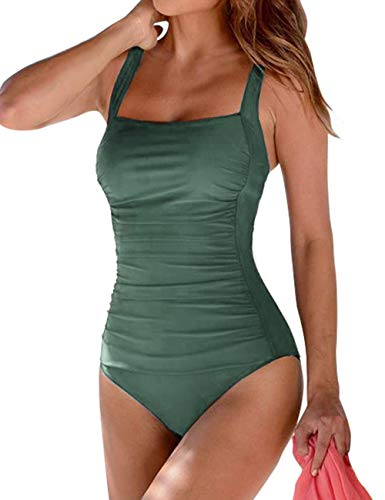 Hilor Women's One Piece Swimsuits Shirred Tank Swimwear Vintage Tummy Control Bathing Suits Army Green 14