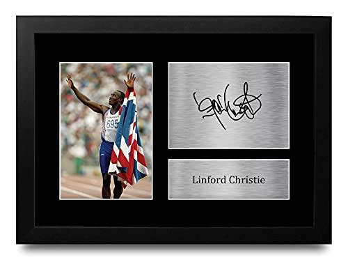 HWC Trading FR A4 Linford Christie Team GB Los Regalos Imprimieron La Imagen Firmada del Autógrafo para Los Fans De Los Recuerdos del Deporte del Atletismo - A4 Framed
