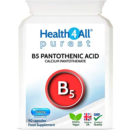 Vitamin B5 Pantothenic Acid 500mg 90 Capsules (V) Purest: No Additives, Vegan. Made by Health4All