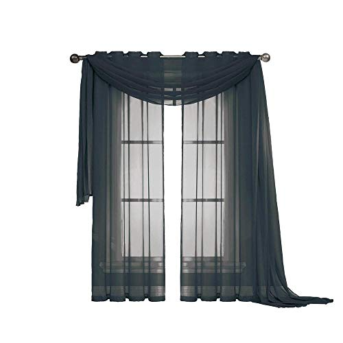 """3 Piece Sheer Panel (2 Pieces 58"""" x 84"""") and Scarf Window (1 Pieces 37"""" x 216"""") Curtain Combo Set (Black)"""