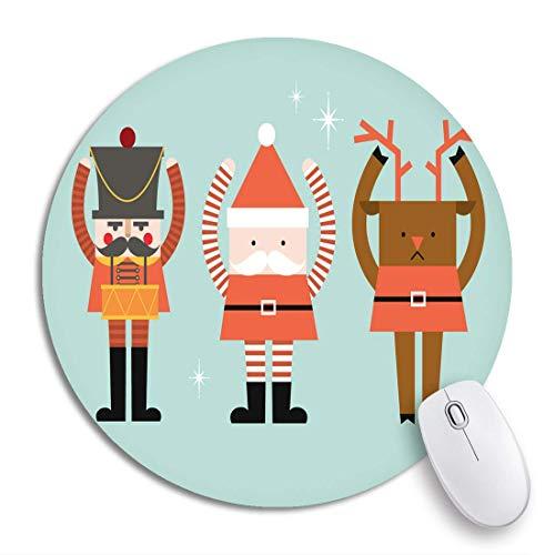 Rundes Mauspad Rote Weihnachten Weihnachtsmann Rentier Nussknacker Stiefel Tiergeweih Rutschfeste Gummibasis Mausmatte Gaming Mousepad für Computer