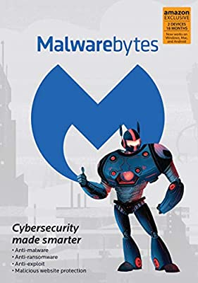 Malwarebytes 4.0 Latest Version | Amazon Exclusive | 18 Months, 2 Devices (PC, Mac, Android) [software_key_card]