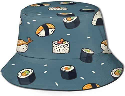 BONRI Sombreros de Cubo Transpirables con Parte Superior Plana Unisex Japón Comida Sushi Imprimir Sombrero de Cubo Sombrero de Pescador de Verano-Patrón de Sushi de Comida Japonesa-Talla única