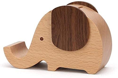 SHOP YJX Creative Wood Wood Elefante Piggy Bank Anti-Otoño Niños Guardar de Gran Capacidad Gallo de la decoración del hogar 13x5.6x8.3cm