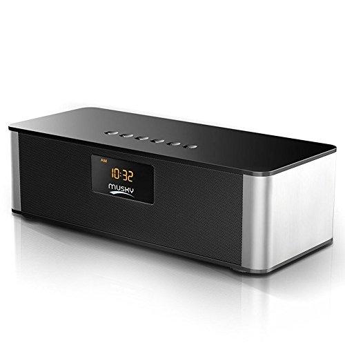 Altavoz Bluetooth Estéreo Portátil ZEPST Altavoces Bluetooth con Despertador, FM Radio, 10W Driver Doble HD Sonido y Graves mejorados HiFi 4.0 Manos Libres Altavoz con micrófono