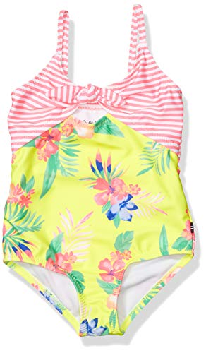 Nautica Girls One Piece Swimsuit with UPF 50+ Sun Protection, Keyhole Yellow, S7
