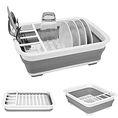 Collapsible Dish Drying Rack Portable Dish Drainer Dinnerware Organizer Kitchen RV Campers Storage from