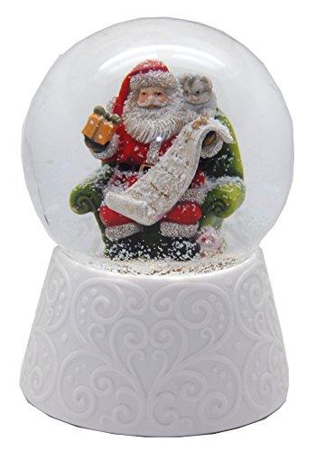 Minium Collection 20089 Nostalgie-Schneekugel mit weißem Porzellan-Sockel Santa mit Geschenkeliste Spieluhr 10cm Durchmesser