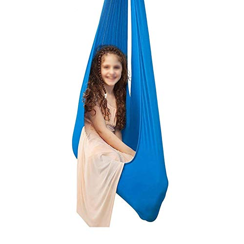 LHHL Aerial Yoga Hängematte Indoor Therapie Schaukel für Kinder mit besonderen Bedürfnissen, sensorische Schaukel für Autismus ADHS Aspergers (Farbe: Blau, Größe: 100 x 280 cm)