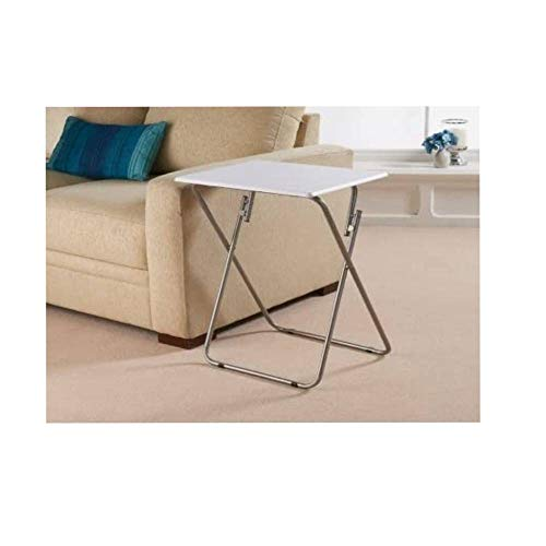 Space Saving Table Reliable Folding Legs Picnic Garden Patio Bbq Party Table Home Furniture Office Compact Desk Study Desk with Metal Legs (White)